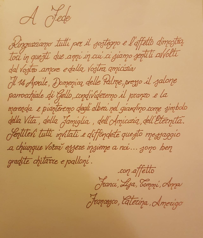 Un invito, per Federico