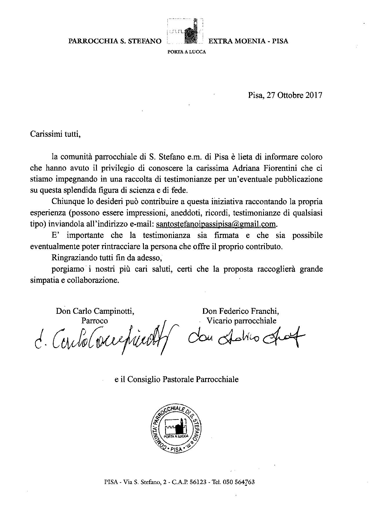 Raccolta di testimonianze su Adriana Fiorentini